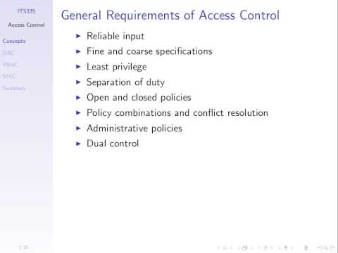 Introduction to Access Control (ITS335, Lecture 9b, 2013)