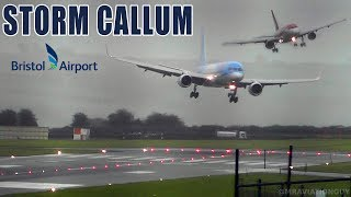 BRISTOL AIRPORT DURING STORM CALLUM | DIRECT CROSSWIND!  SIDEWAYS LANDINGS, GO AROUNDS...(WITH ATC)