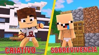 CASA NO CRIATIVO VS CASA NO SOBREVIVÊNCIA - MINECRAFT