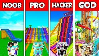 Minecraft NOOB vs PRO vs HACKER vs GOD : FAMILY WATER PARK MODERN BUILD CHALLENGE !