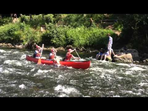 Canoe hire trip on the river Wye, running the Symonds Yat rapids