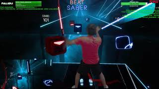 Highlight: Beat Saber VR! Mixed Reality Light Saber Training | Day 2 - Episode 1 FULL