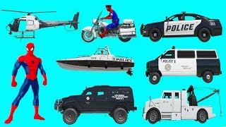 Police Vehicles Names l Learn Vehicles with Spiderman in Car Cartoon for Kids l Nursery Rhymes Songs