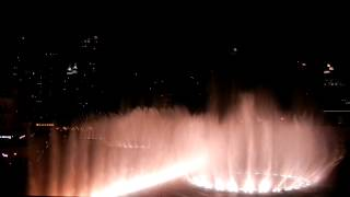 musical dancing fountain with fireworks         dubai mall
