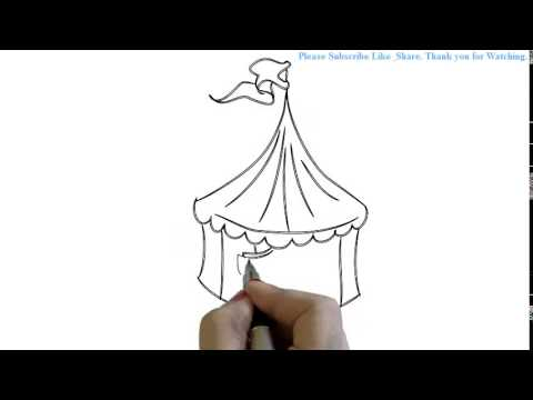How to Draw a Circus tent with flag | YZArts | YZArts  sc 1 st  YouTube & How to Draw a Circus tent with flag | YZArts | YZArts - YouTube