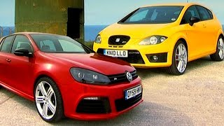 VW Golf R vs Seat Leon Cupra R Fifth Gear смотреть