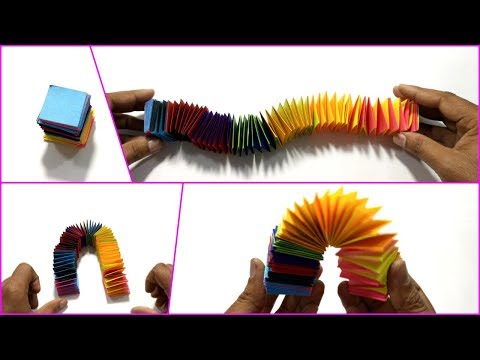Paper Slinky - STRESS RELEASE TOY - Simple Paper Rainbow Slinky - Easy Tutorial