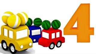 4 carros coloridos. Números para crianças. Animação infantil.