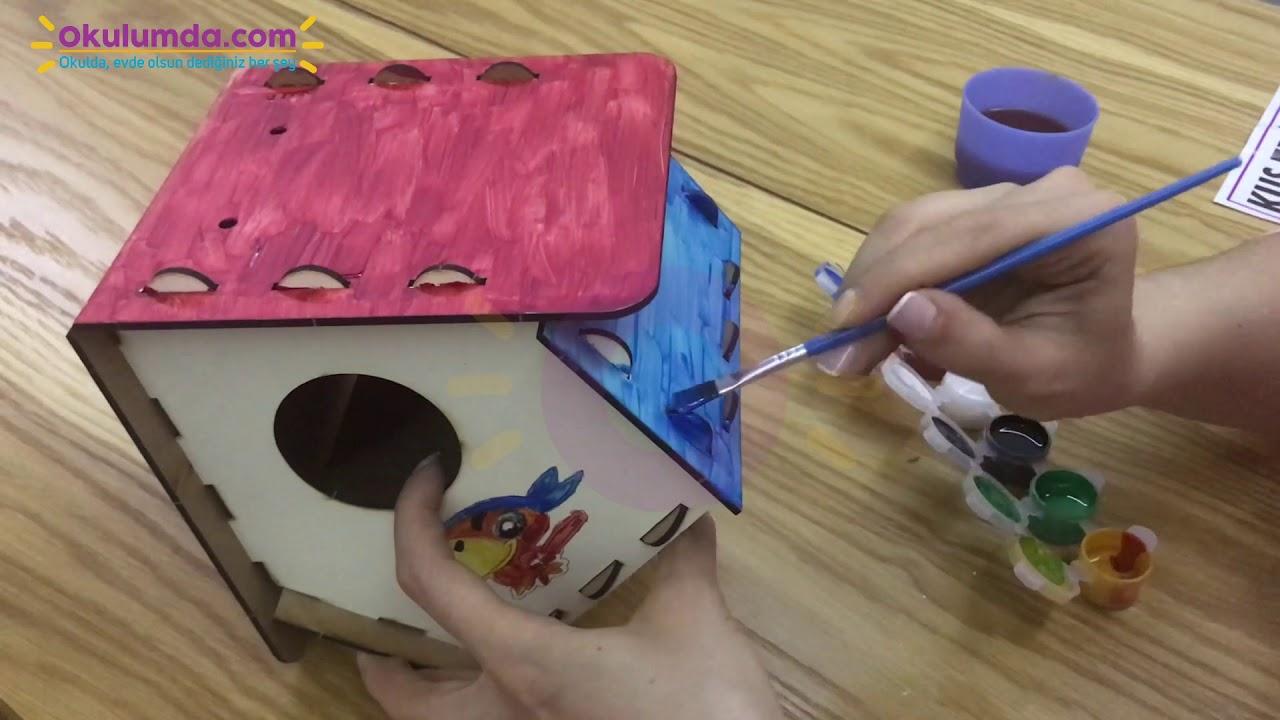 Ahsap Boyanabilir Kus Evi Boya Hediyeli Okulumda Com Da