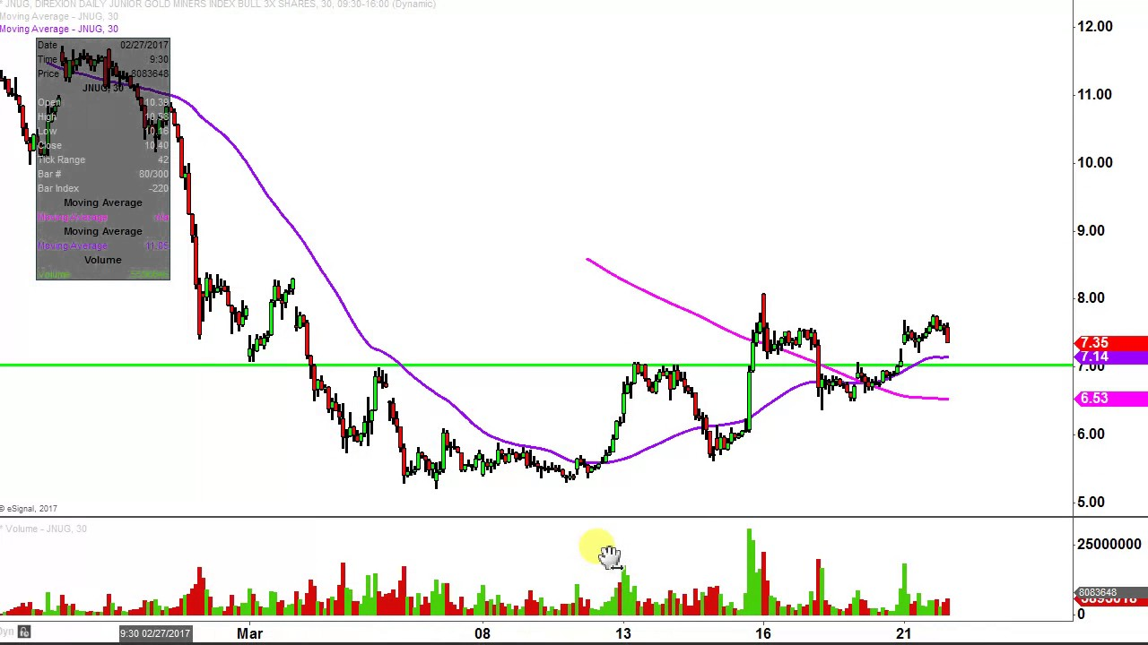 Direxion daily jr gld mnrs bull 3x etf jnug stock chart technical