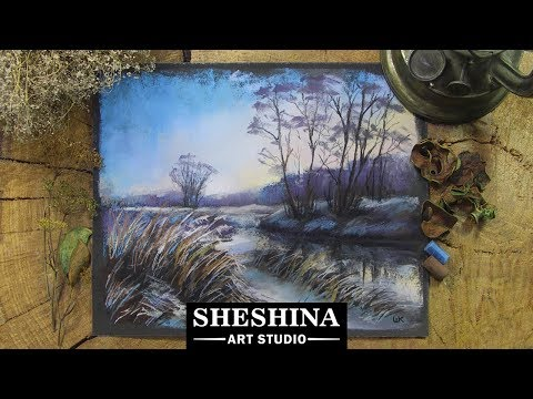 How to draw a winter landscape at twilight with soft pastels 🎨 REAL – TIME