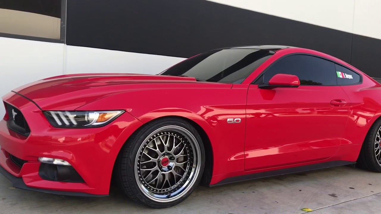 2016 Mustang GT On ESR SR01 Black Chrome Wheels & BC Racing Type BR  Coilovers!