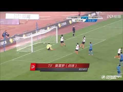 Marcelo Moreno deixa o seu na vitória do Wuhan Zall sobre o Zhejiang Yiteng pela Liga Um Chinesa