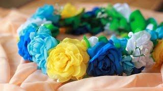 Венок из Цветов Мастер Класс / DIY Fabric Rose Wreath Head