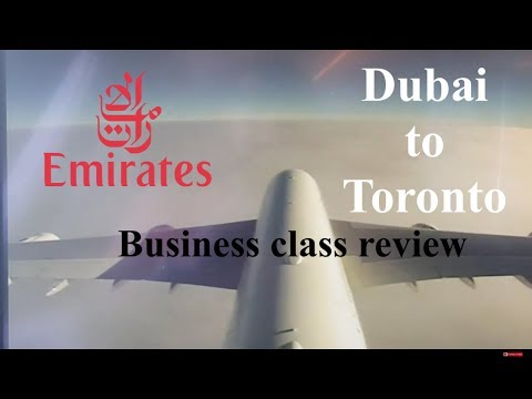 Emirates A380 business class landing in Toronto. YYZ-DXB