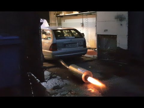 EXHAUST FLAMES C230 TURBO on dyno Mercedes w202 m111 engine tuning - 365HP  and 510Nm race car