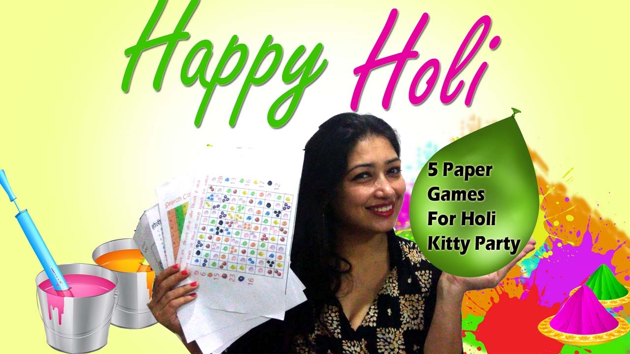 5 Paper Party Games For Holi Theme Kitty Party Holi Theme