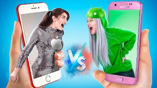 iPhone Girl vs Android Girl! If Objects Were People!