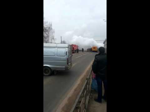 Пожар в калуге горит детский автобус