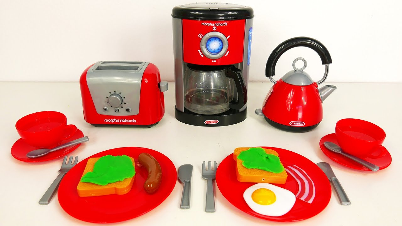 Mickey Mouse Kitchen Appliances Breakfast Playset With Kettle Toaster And Coffee Maker Little Cook