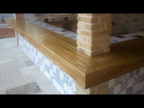 Oak Bar Counter For Outdoor Kitchen Area