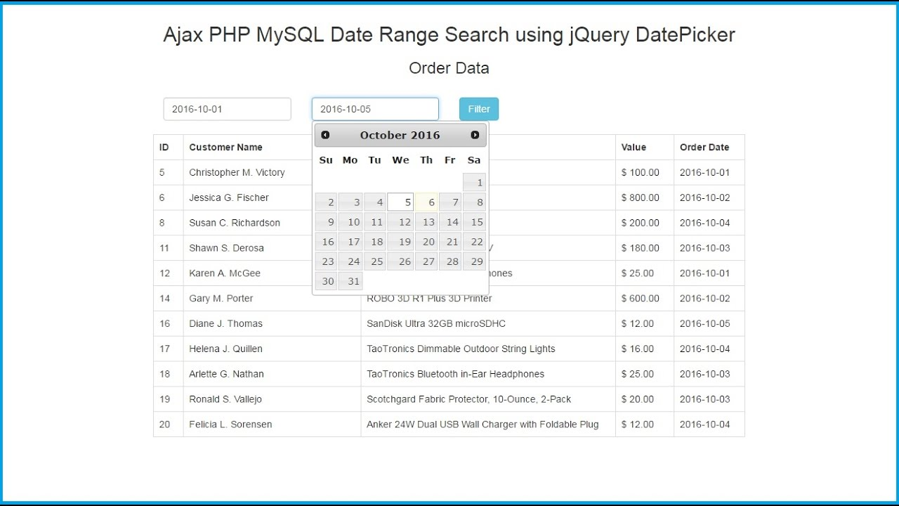 Ajax PHP MySQL Date Range Search using jQuery DatePicker