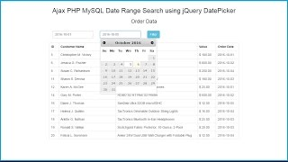 Ajax PHP MySQL Date Range Search using jQuery DatePicker(In this video we are going to learn how to filter database item date between two selected date ranges without page refresh by using php mysql with Jquery Ajax., 2016-10-06T13:16:25.000Z)