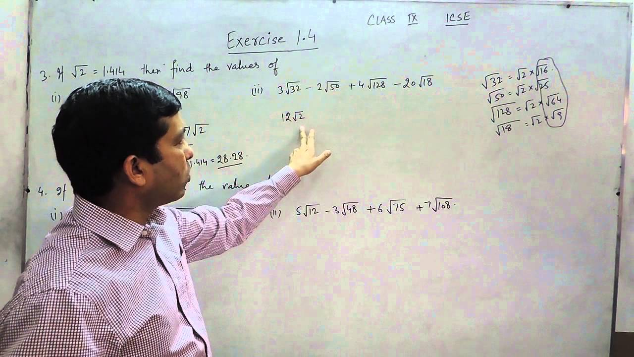 Exercise 1 4 (Q3-Q4) Solution for Class 9th Understanding ICSE Mathematics  by ML Aggarwal