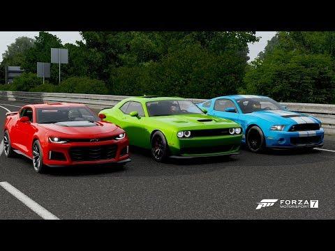 Forza 7 Drag race: Chevrolet Camaro ZL1 vs Dodge Challenger SRT Hellcat vs Ford Mustang Shelby GT500