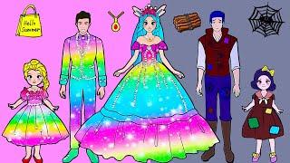 Paper Dolls Dress Up - Wedding Poor Boy & Bunny Girl Dress Handmade - Barbie Story & Crafts