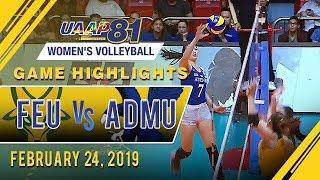 UAAP 81 WV: FEU vs. ADMU   Game Highlights   February 24, 2019