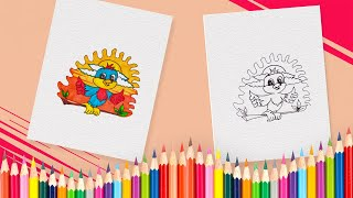 How to Draw Bird Animal Coloring Book Pages for Kids, Children and Preschoolers