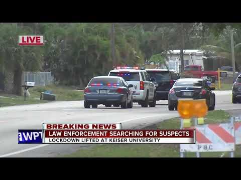 Law enforcement search for suspects near Keiser University near West Palm Beach
