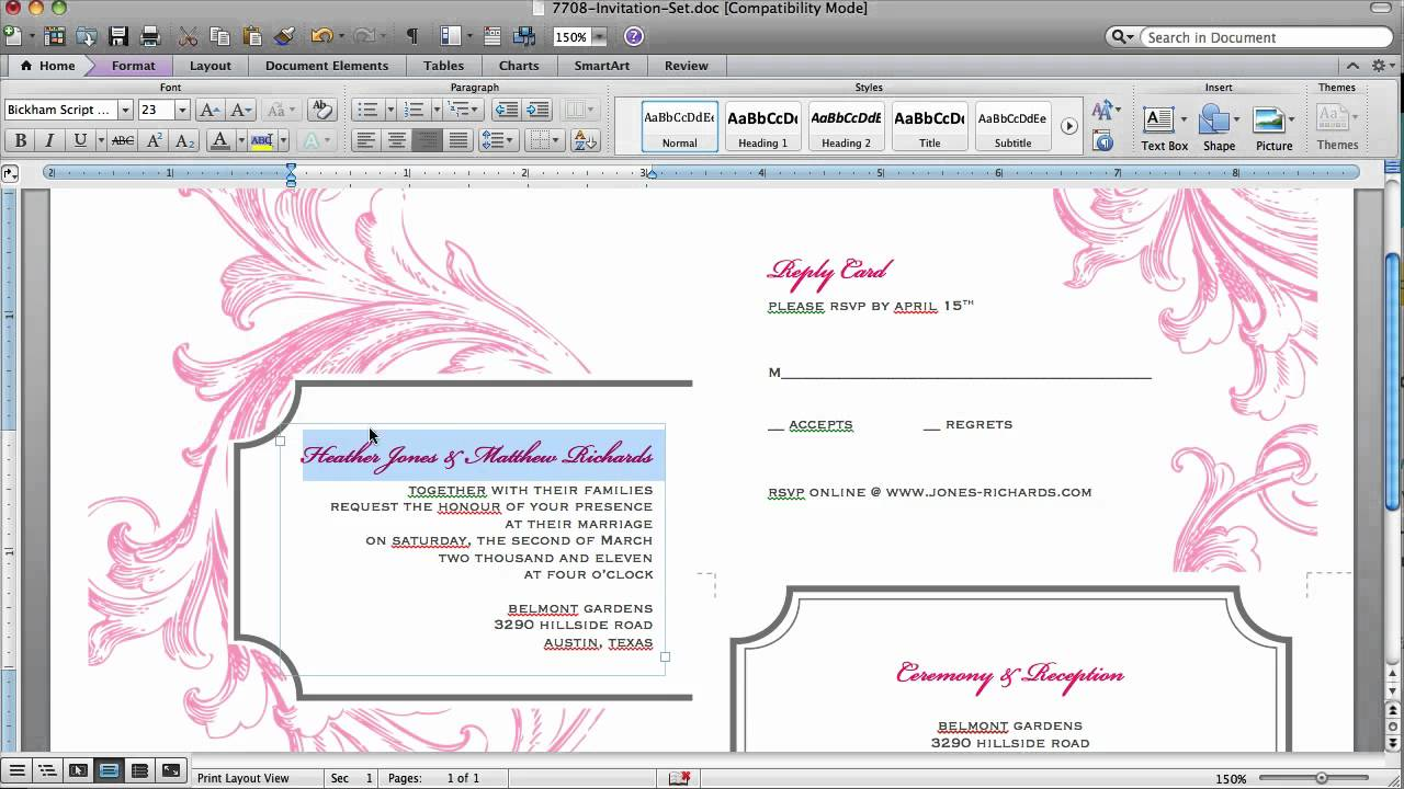 how to customize an invitation template in microsoft word youtube .