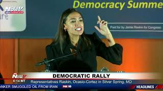 PASSIONATE SPEECH: Congresswoman Alexandria Ocasio-Cortez (D-NY) fires up crowd in Maryland