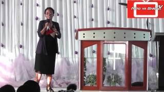 Mama Mchungaji Gwantwa Mwakibolwa akihubili kwenye maombi ya kuombea VIONGOZI