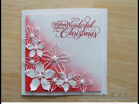 Distressed inked background with poinsettias