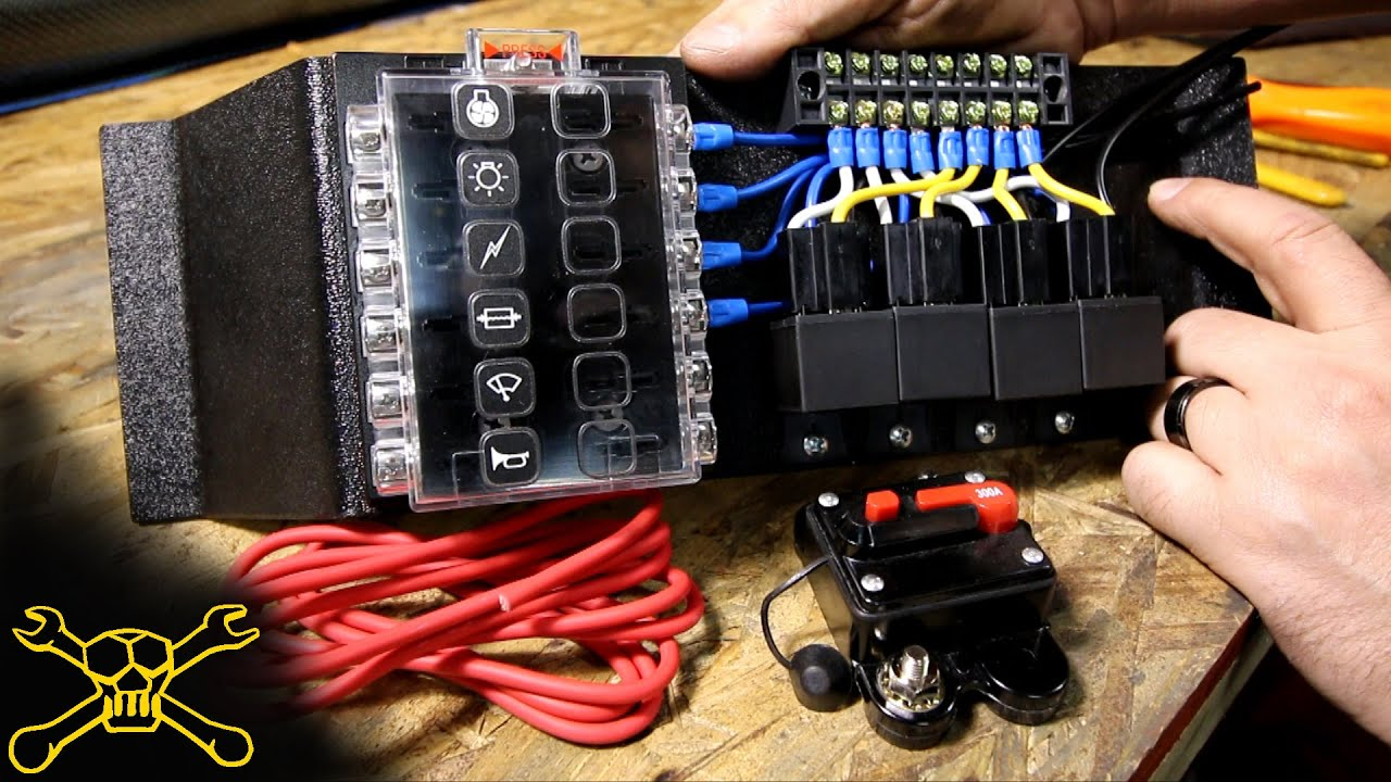 how to make a power relay fuse block automotive wiring youtube rh youtube com Motorcycle Fuse Box Motorcycle Fuse Box