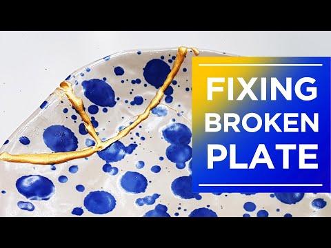 Kintsugi DIY - Gluing Broken Plate using Epoxy and Gold Pen