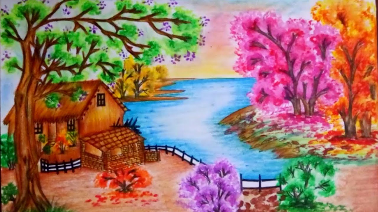 How To Draw Spring Season Scenery Step By Step Spring Season