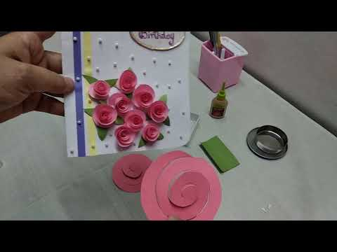 Easy & quick paper rose flower greeting card