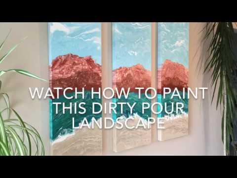 ACRYLIC PAINTING TUTORIAL - CONTROLLED DIRTY POUR LANDSCAPE