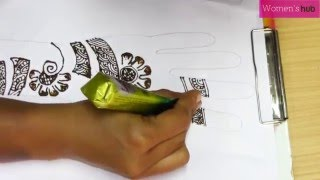 Learn Arabic Design Mehndi (Henna) Step by Step - 2. Simple Hand Design Using curves & Flowers