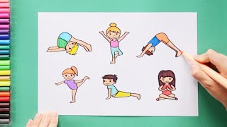 How to draw and color kids practicing Yoga