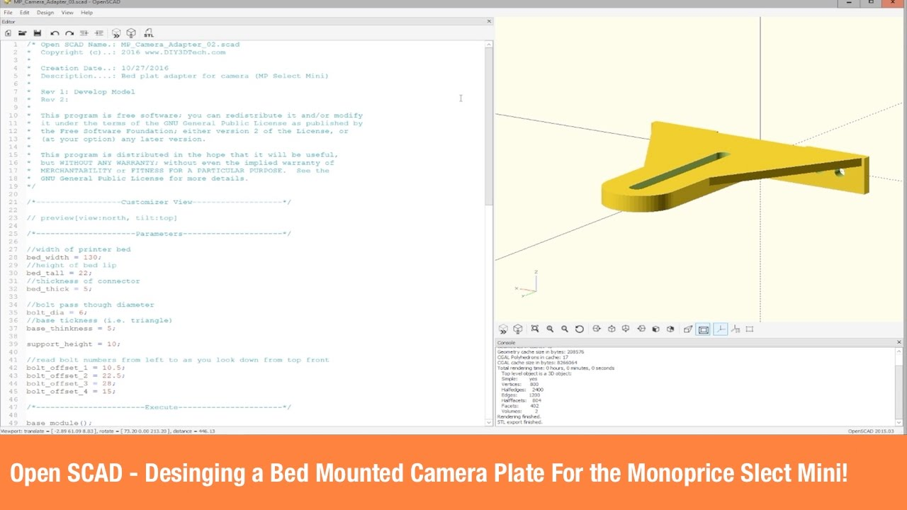 Open SCAD - Designing and 3D Printing a Bed Mounted Camera Plate For the  Monoprice Select Mini!