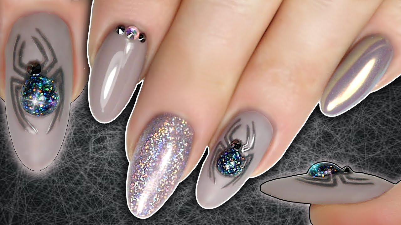 Halloween 3d Spider Nails With Diy Glitter Spider Super Holo Glitter Amp Magpie Gel Polish Youtube