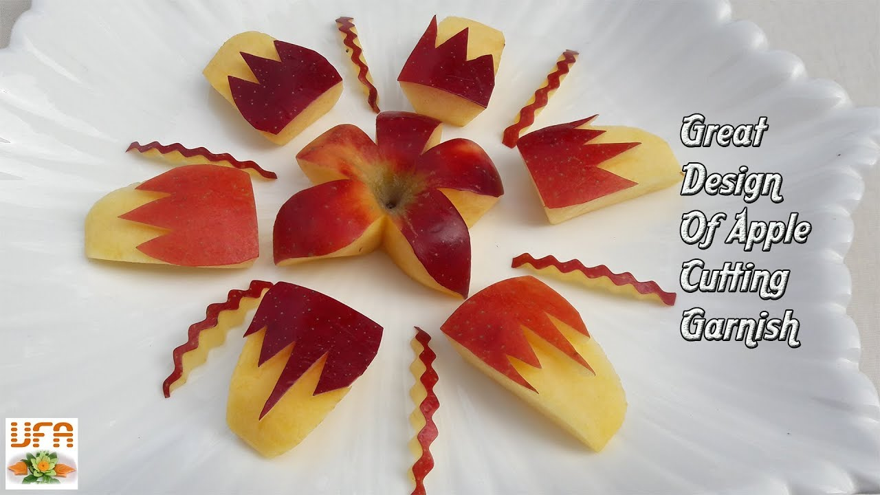 Great Design Of Apple Cutting Garnishes | How To Decorate ...