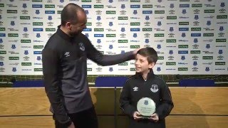 Roberto Martinez Presents 9 y/o George Shaw With His Goal of the Month award