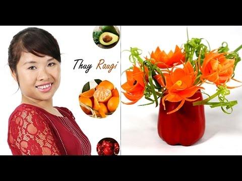 Hướng dẫn tỉa rau củ quả đẹp: Cách cắt hoa cà rốt