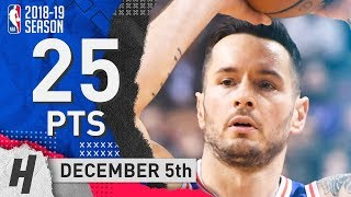 JJ Redick Full Highlights 76ers vs Raptors 2018.12.05 - 25 Pts, 4 Ast!